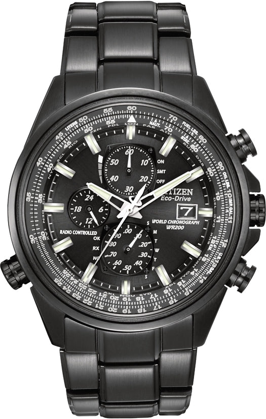 World Chronograph A-T Analog Black Stainless Steel Mens Watch AT8025-51E