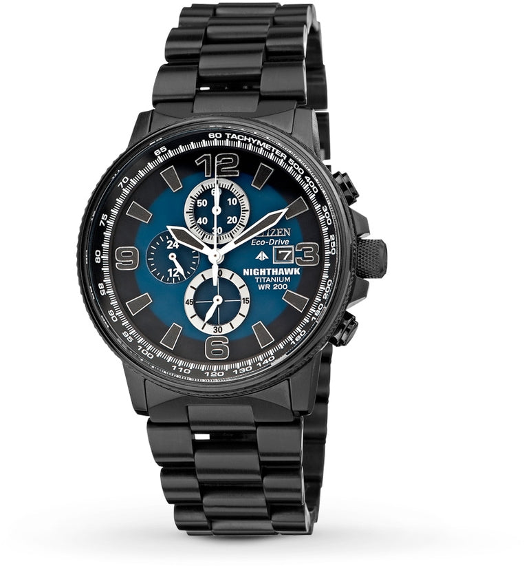 Nighthawk Chronograph Blue Dial Black Titanium Mens Watch CA0505-57L
