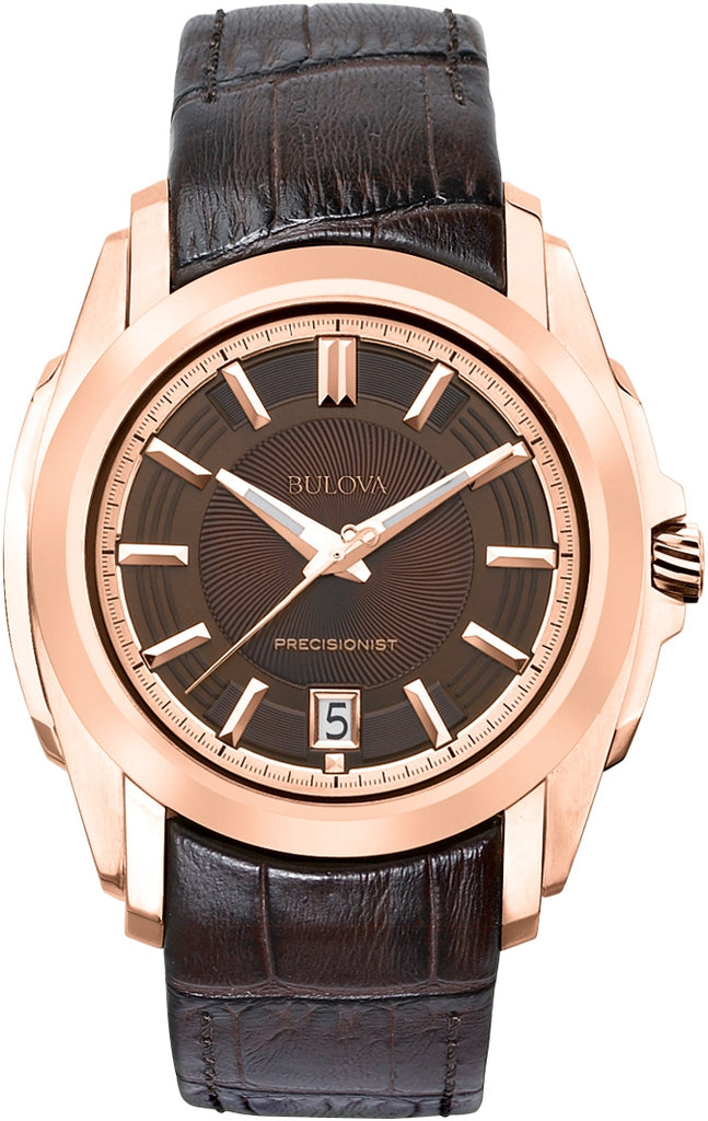 Precisionist Longwood Rose Gold Tone Brown Leather Mens Watch 97B110