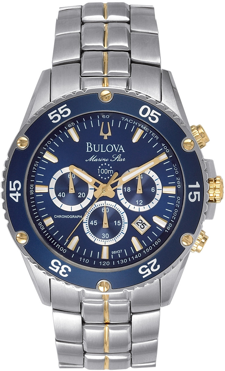 Marine Star Chronograph Blue Dial Stainless Steel Men's Watch 98H37
