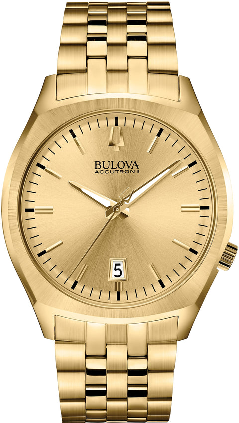 97B134 Accutron II Surveyor Gold Tone Stainless Steel Strap Mens Watch