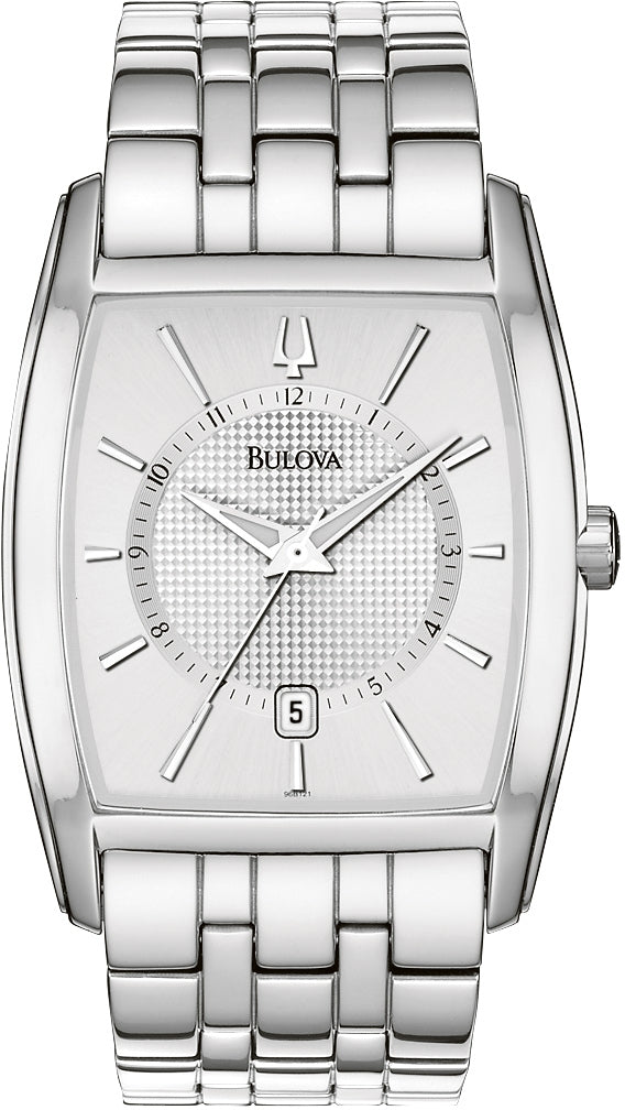 Silver Dial Stainless Steel Analog Mens Watch 96B121