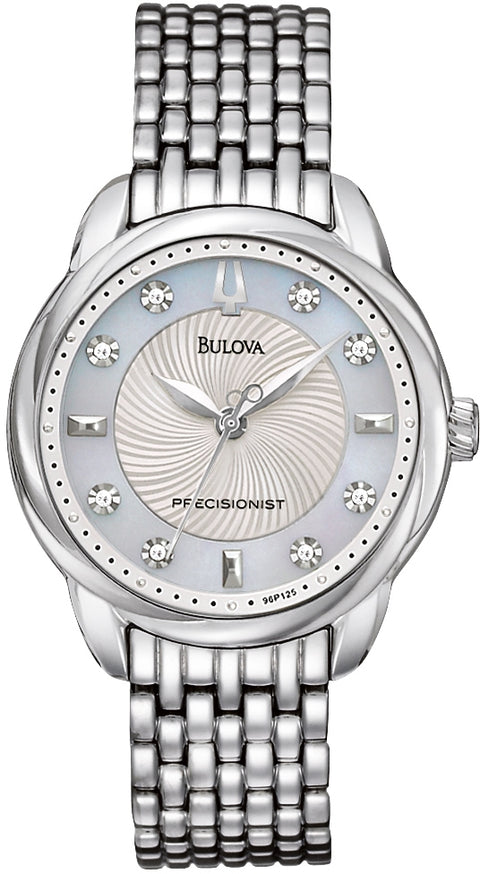 Brightwater Precisionist Diamond Accented MOP Dial Stainless Steel Women's Watch 96P125