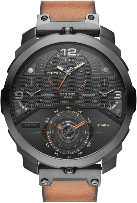 Machinus Black Dial Brown Leather