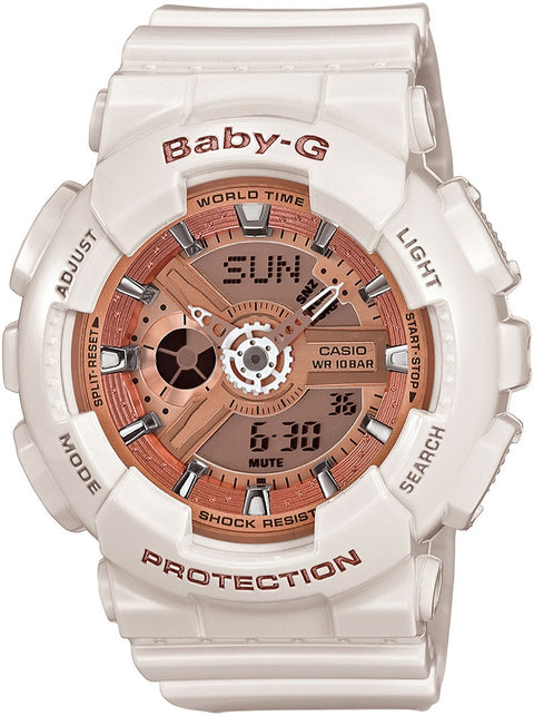 Baby-G BA110-7A1 Rose Gold Dial White Resin Womens Watch