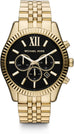 Lexington Chronograph Black Dial Gold Tone