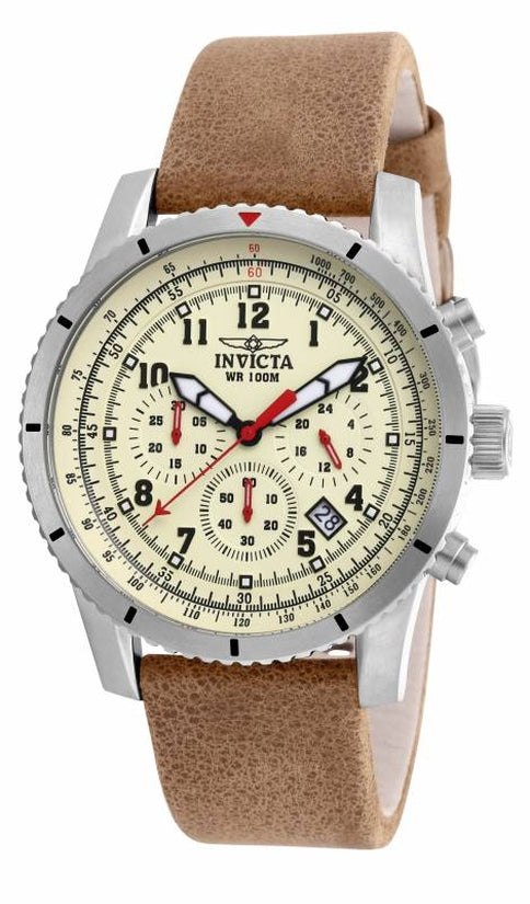 Aviator Men's Leather Champagne Dial