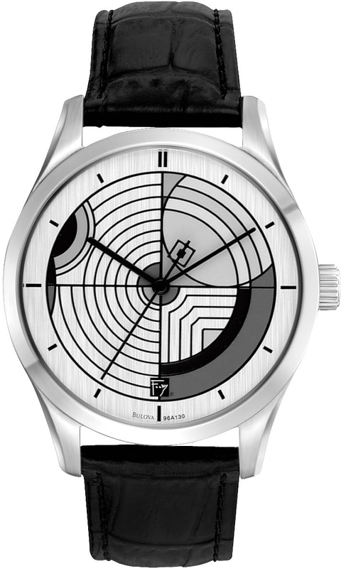 Frank Lloyd Wright Hoffman House Rug Black Leather Mens Watch 96A129