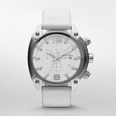 Overflow Chronograph White Dial White Leather