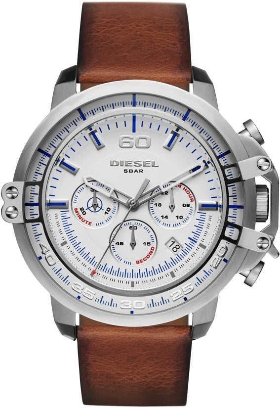 Deadeye Chronograph White Dial Brown Leather
