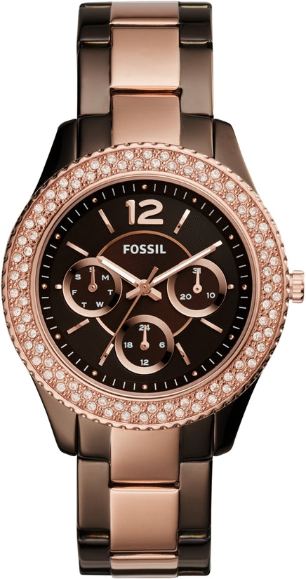 Stella Multifunction Dark Brown and Rose Gold Tone
