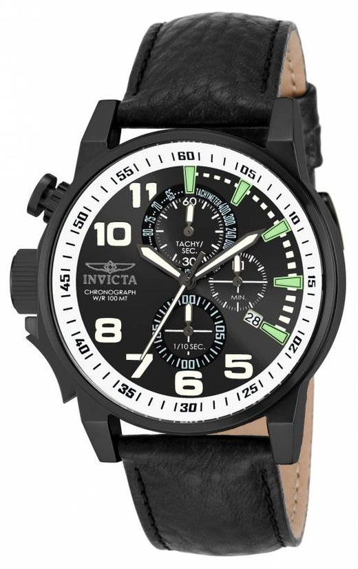 I-Force Men's Leather Black Dial