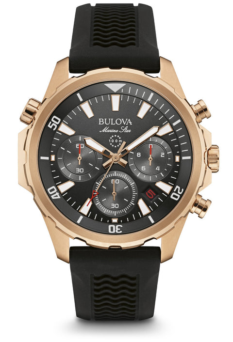 Rose Gold Marine Star Chronograph Rubber