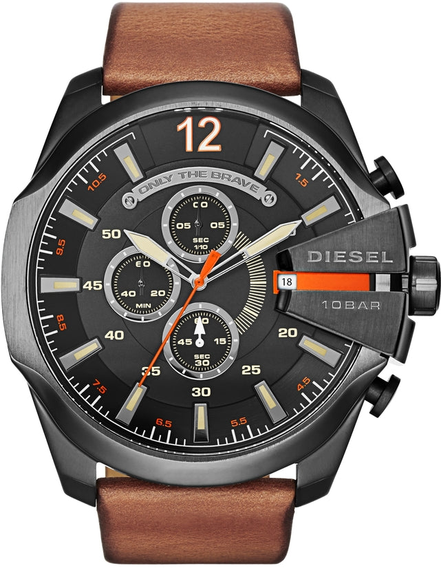Mega Chief Chronograph Brown Leather Black Dial