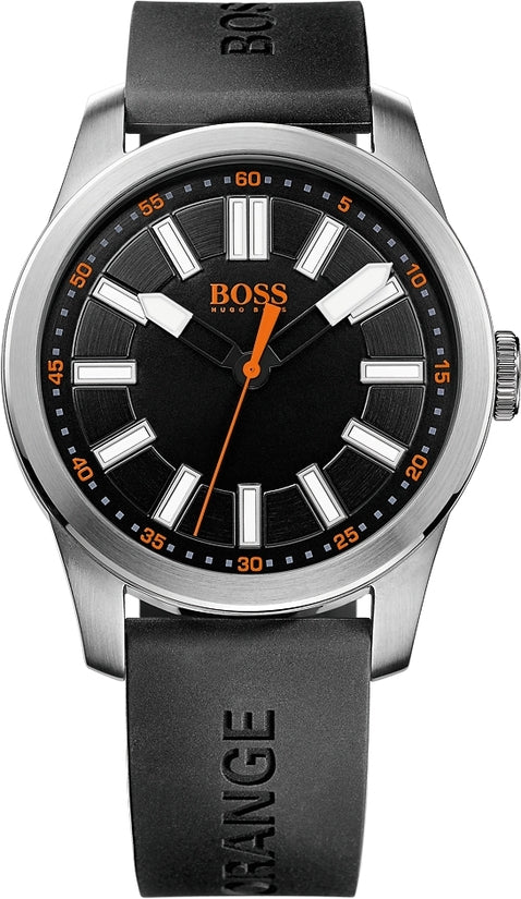 Paris Men's Black Silicone Black Dial