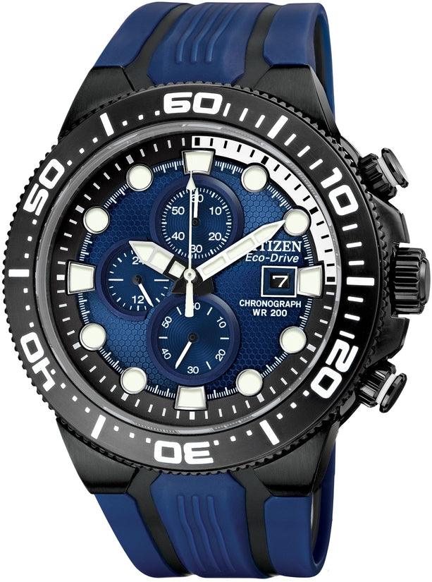 Scuba Fin Chronograph Blue Dial Rubber Band Mens Watch CA0515-02L