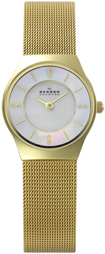 233XSGG Grenen White Dial Gold Tone Stainless Steel Strap Women's Watch