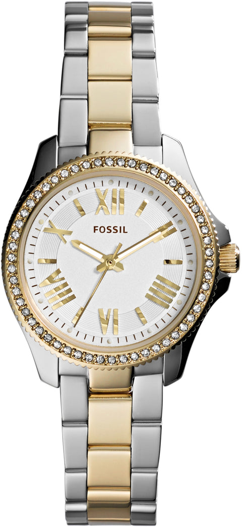 AM4579 Cecile Small White Dial Two Tone Gold Stainless Steel Strap Women's Watch
