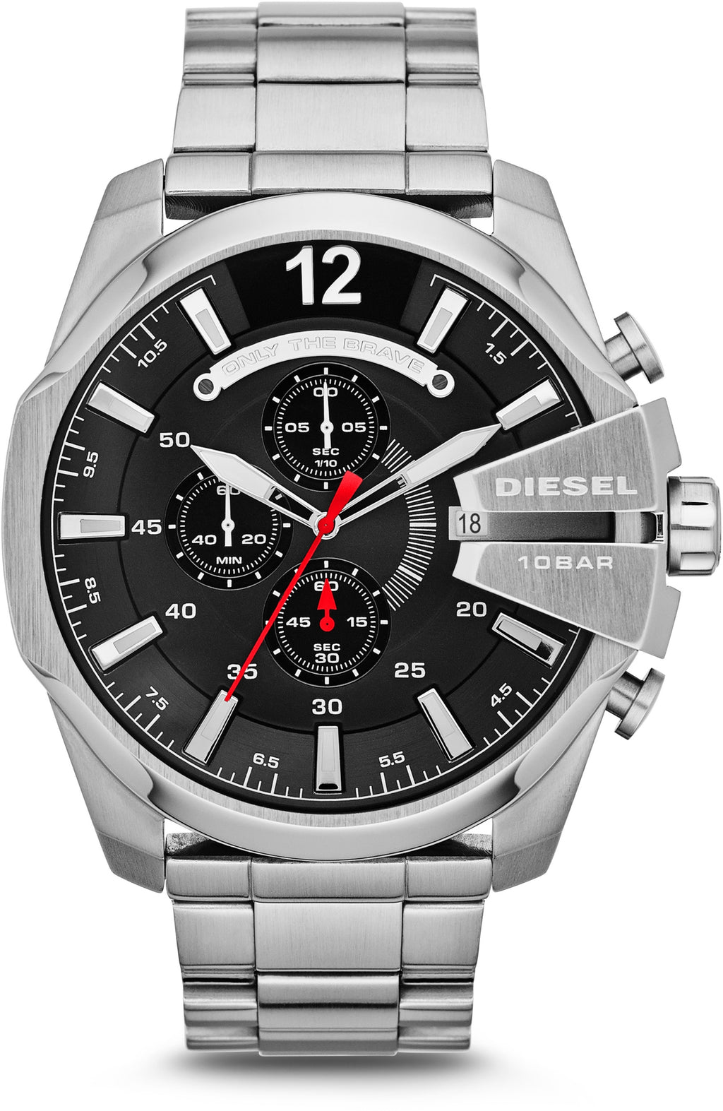 Mega Chief Chronograph Black Dial Silver Tone