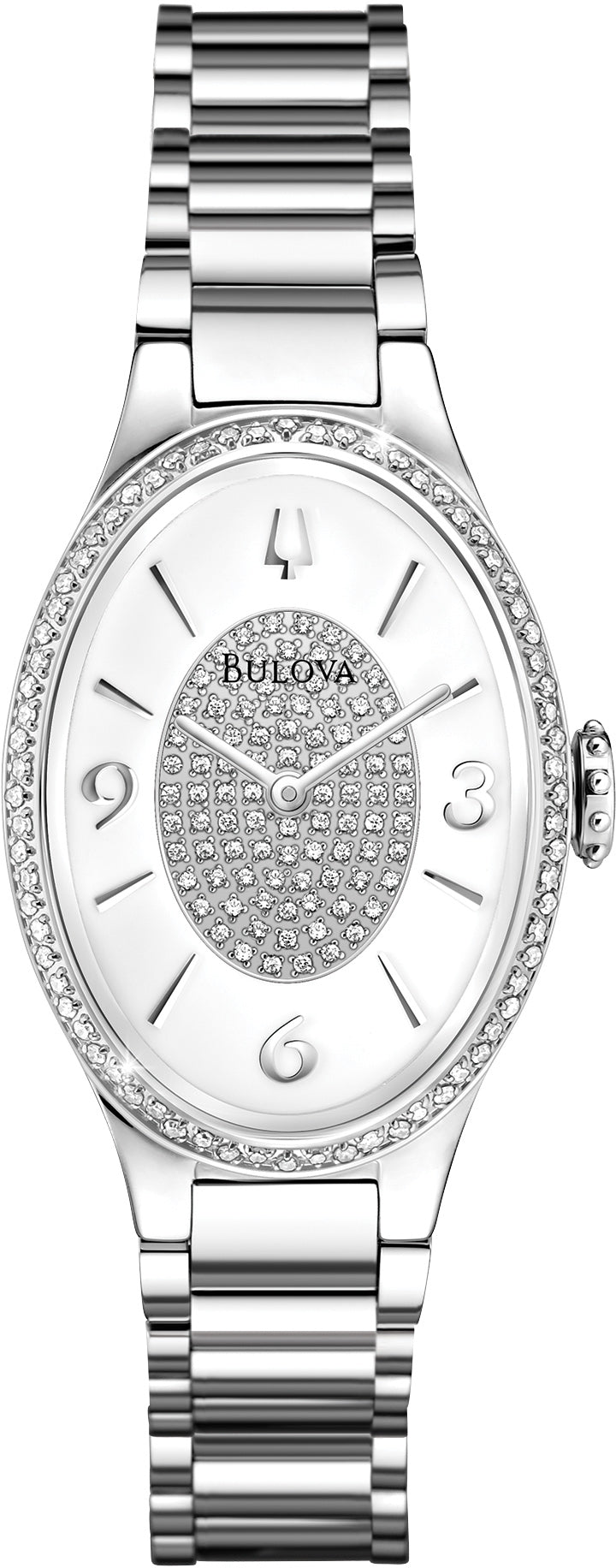 Diamond Gallery Oval Analog Diamond Dial Stainless Steel Women's Watch 96R193