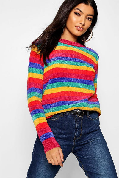 Rainbow Knitted Chenille Jumper