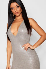Plunge Front Strappy Sequin Mini Dress