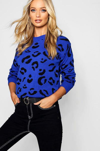 Leopard Knitted Jumper