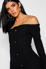 Horn Button Off The Shoulder Rib Dress