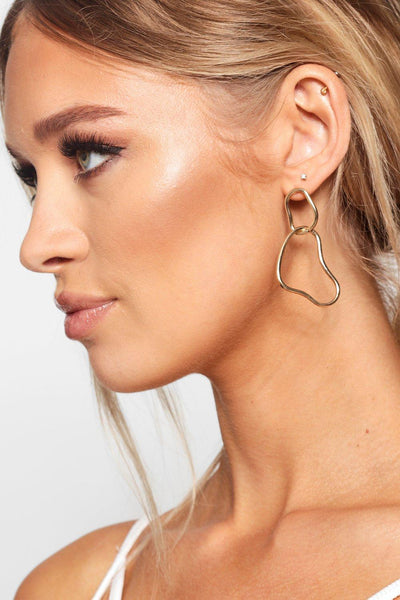 Double Link Distorted Hoop Earrings