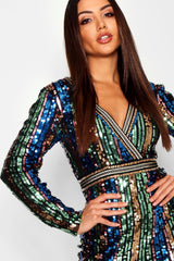 Rainbow Sequin Embellished Bodycon Dress