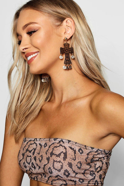 Cross & Coin Statement Earrings