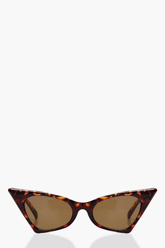 Tortoiseshell Pointed Retro Sunglasses