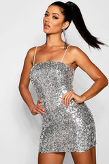 Sequin Square Neck Bodycon Dress