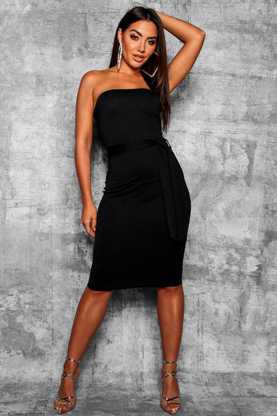 Bandeau Tie Belt Midi Dress