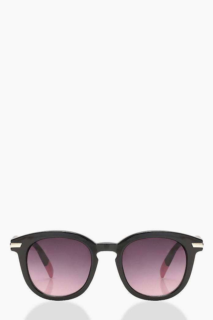 Pink Tipped Round Sunglasses