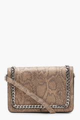 Faux Snake And Chain Cross Body