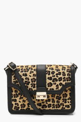 Leopard And Metal Lock Cross Body