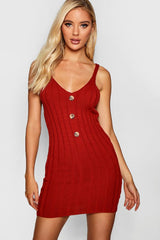 Button Front Rib Knit Dress