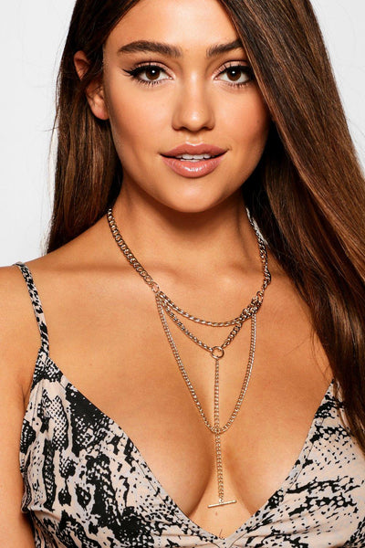 Layered Curb Chain Plunge Necklace