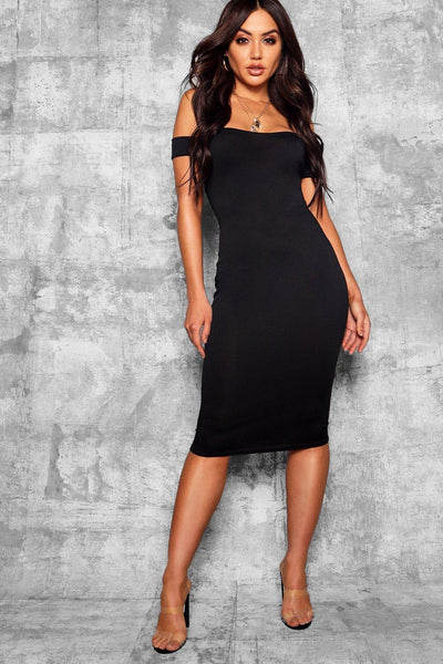 Off Shoulder Curved Midi Dress