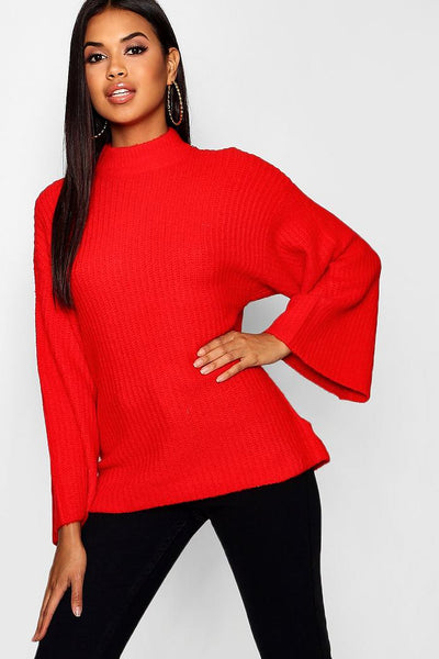 Oversized Jumper With Funnel Neck