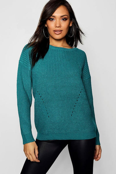 Chunky Jumper With Rib Transfers