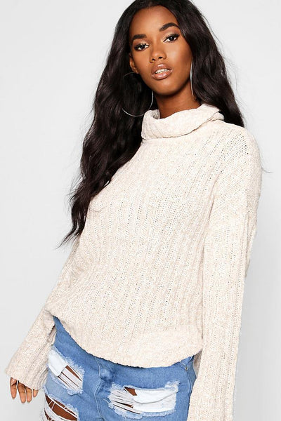 Roll Neck Ribbed Loose Fit Jumper