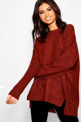 Loose Fit Jumper With Split Front Hem