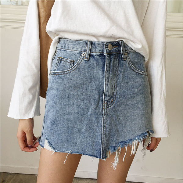 Irregular Edges Denim Skirts