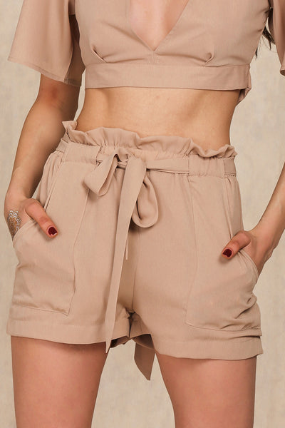 Chiffon Bow High Waist Belt Shorts