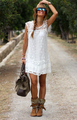 Beach tassel lace dress