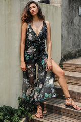 Deep V print flower women jumpsuit