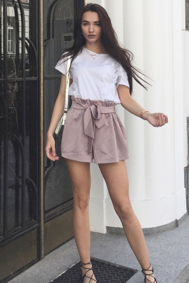 Ruched Sashes High Waist Shorts
