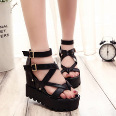 Lace Belt Bow open toe high-heeled wedges